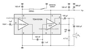 Simple 12 watt Amplifier Circuit using TDA1020 IC