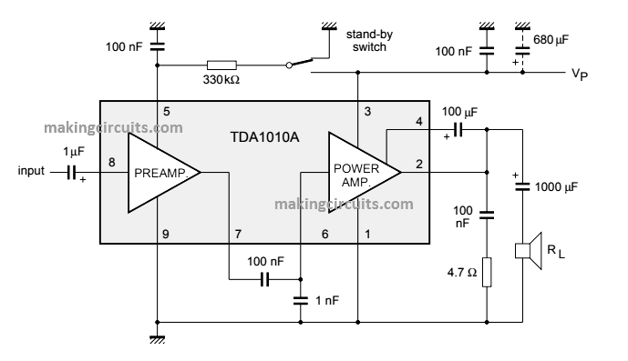 12 watt power amplifier circuit using tda1020 IC
