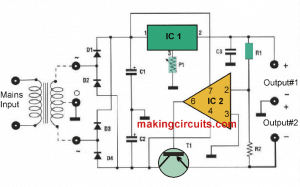 +/-5V to 12V Adjustable Power Supply Circuit