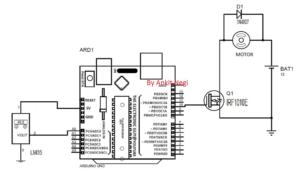 automatic heatsink temperature controller circuit