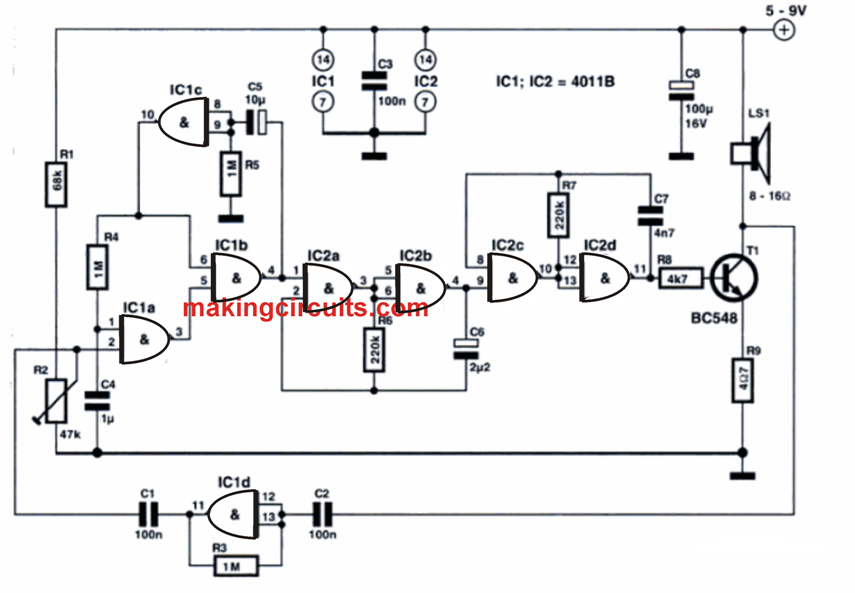 Circuit Diagram for the above Explained Vibration Activated Alarm Circuit