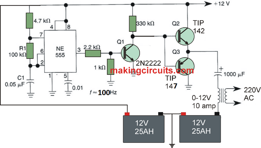 Simple Full-Bridge Inverter Circuit using IC 555