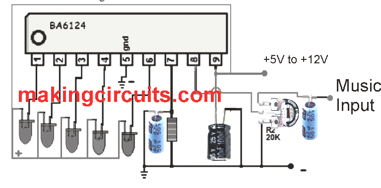 simple 5 led music level indicator using a single ic rh makingcircuits com