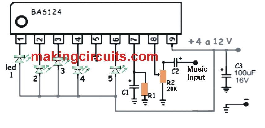 Simple 5 Led Music Level Indicator Using A Single Ic