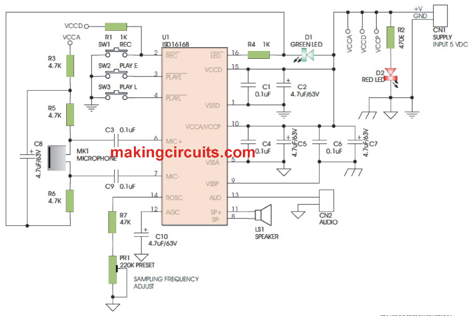 simple voice recorder and playback circuitDigital Voice Record And Playback Circuit Schematic #21