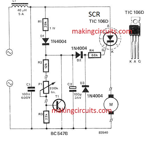 [DIAGRAM_1JK]  Simple Drill Speed Controller Circuit - 220V, 120V AC Back EMF Dependent | Ac Motor Speed Controller Wiring Diagram |  | Making Easy Circuits