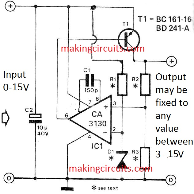 customizable fixed voltage regulator circuit using opamp