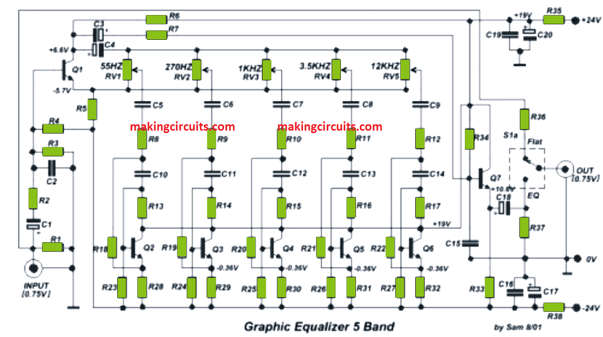 5 Band Graphic Equalizer CircuitMaking Easy Circuits