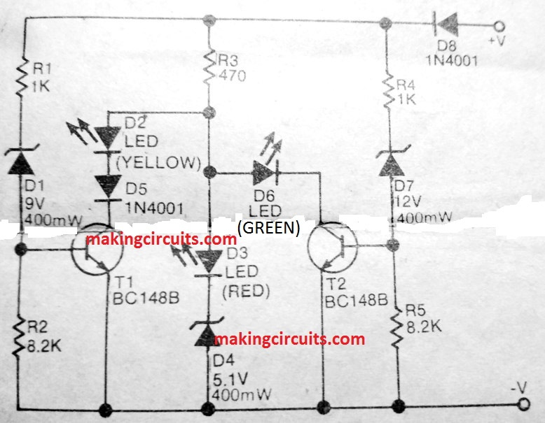 battery status indicator circuit using two transistors only