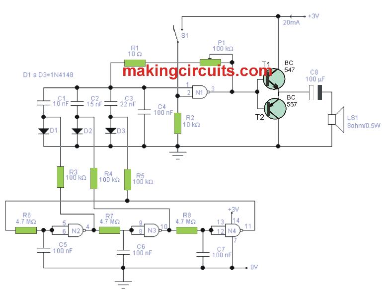 Simple Melody Tone Generator Circuit