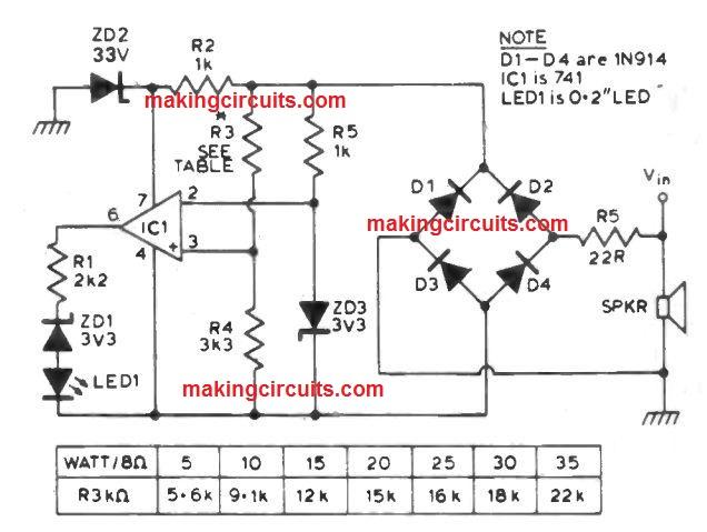 loudspeaker power indicator circuit